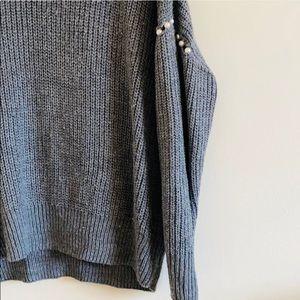 Mustard Seed Sweaters - Mustard Seed Gray Blue Oversized Pearl Sweater